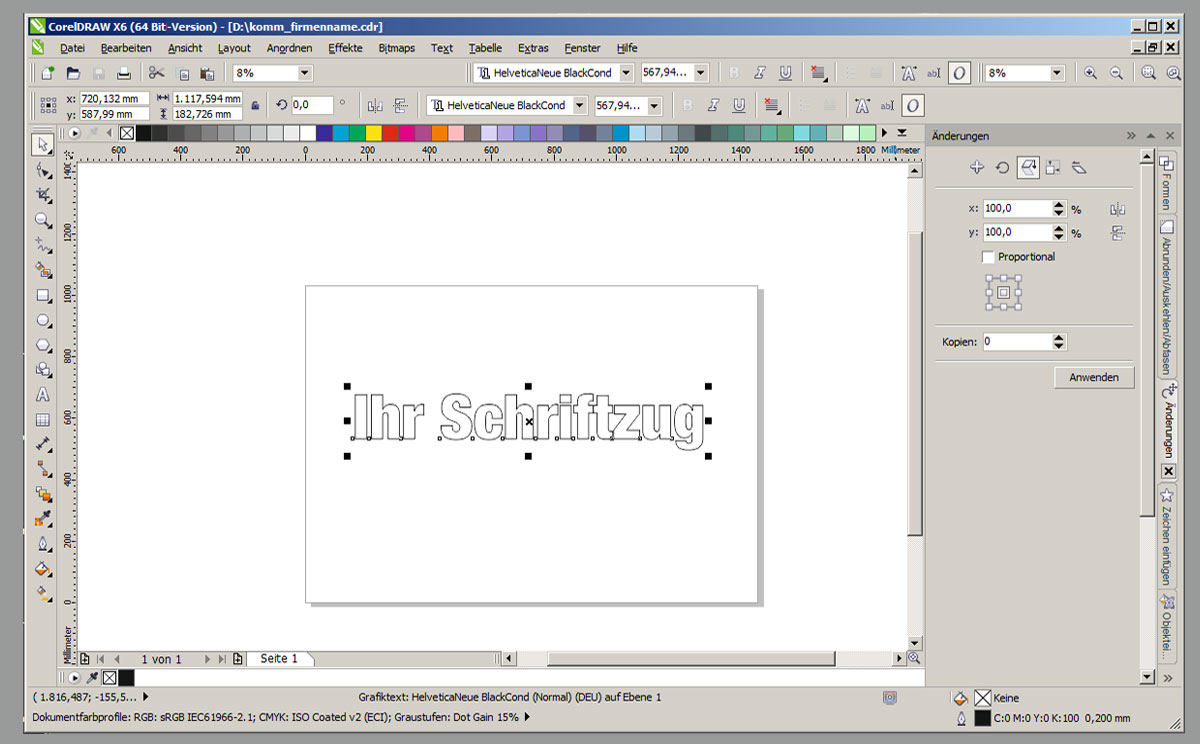 Ansicht Dateianlage in Corel Draw X6.