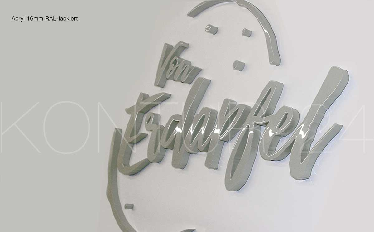 3D Acrylbuchstaben 16mm RAL-lackiert