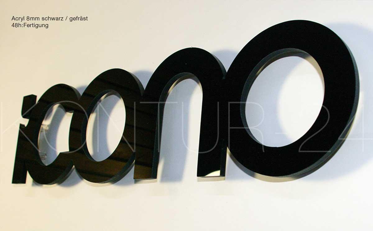 3D Acrylbuchstaben 8mm durchgefärbt schwarz glanz / gefräst in 48h:Fertigung
