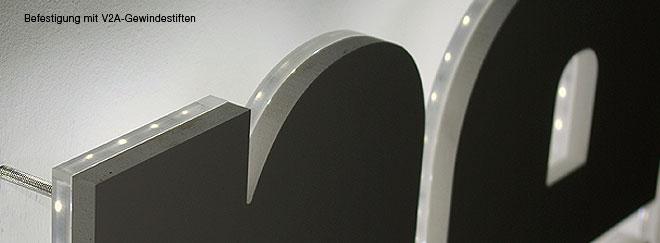 Befestigung von Fräsbuchstaben oder Laserbuchstaben z.B. mit unseren Abstandshaltern KLIX oder V2A-Gewindestiften